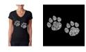 LA Pop Art Women's Word Art V-Neck T-Shirt - Meow Cat Prints