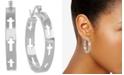 "Essentials Medium Cut-Out Cross Hoop Earrings in Fine Silver-Plate, 1.48"""