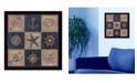 "Trendy Decor 4U Trendy Decor 4U Coastal Collage I By Debbie DeWitt, Printed Wall Art, Ready to hang, Black Frame, 14"" x 14"""
