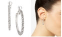 "Charter Club Silver-Tone Medium Crystal Hoop Earrings, 1.25"", Created for Macy's"