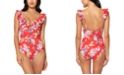 Jessica Simpson Chantilly Lace Printed Ruffle One-Piece Swimsuit