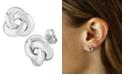 Macy's Knife Edge Knot Stud Earrings Set in 14k White Gold
