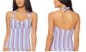 Jessica Simpson Miami Stripe Printed Underwire Halter Tankini Top