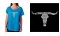 LA Pop Art Women's Dolman Cut Word Art Shirt - Names of Legendary Outlaws