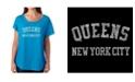 LA Pop Art Women's Dolman Cut Word Art Shirt - Popular Neighborhoods In Queens, NY