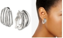 "Anne Klein Silver-Tone Small Hoop Button E-Z Comfort Clip-On Earrings, 1"""