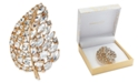 Charter Club Gold-Tone Crystal Leaf Boxed Pin, Created For Macy's
