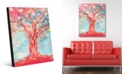 """Creative Gallery Dream Bubble Tree in Red Abstract 16"""" x 20"""" Acrylic Wall Art Print"""