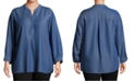 John Paul Richard Plus Size Split Neckline Chambray Shirt