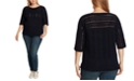Vince Camuto Plus Size Cotton Open-Stitch Boatneck Sweater
