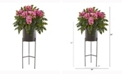 Nearly Natural 55in. Phalaenopsis Orchid and Holly Fern Artificial Plant in Stand Black Planter