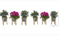 Nearly Natural 13in. Rose and Olive Artificial Arrangement in Tin Vase with Legs Set of 3