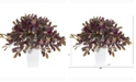 Nearly Natural 23in. Fall Laurel Leaf with Berries Artificial Plant in White Planter