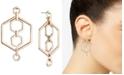 DKNY Gold-Tone Hexagon Orbital Drop Earrings