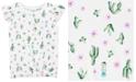 Carter's Little & Big Girls Cactus-Print Tie-Front Cotton T-Shirt