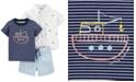 Carter's Baby Boys 3-Pc. Cotton Shirt, T-Shirt & Shorts Set