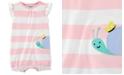 Carter's Baby Girls Striped Snail Cotton Romper