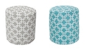 """Majestic Home Goods Links Ottoman Round Pouf with Removable Cover 16"""" x 17"""""""