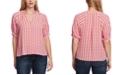 Vince Camuto Women's Elbow Sleeve Split Neck Printed Blouse