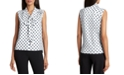 Tahari ASL Tie-Neck Dot-Print Top