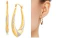 Macy's Two-Tone Beaded Oval Hoop Earrings in 14k Gold & White Rhodium-Plate