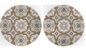 """Global Rug Designs Haven Hav11 Taupe and Blue 3'3"""" x 3'3"""" Round Rug"""