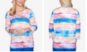 Alfred Dunner Three-Quarter Sleeve Watercolor Medallion Striped Knit Top with Lattice Neckline
