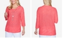 Alfred Dunner Plus Size 3/4 Sleeve Solid Grommet Sleeve Top with Detachable Necklace