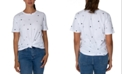Rebellious One Juniors' Cotton Star-Print Knot-Front T-Shirt