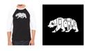 LA Pop Art California Bear Men's Raglan Word Art T-shirt