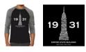 LA Pop Art Empire State Building Men's Raglan Word Art T-shirt