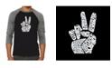 LA Pop Art Peace Fingers Men's Raglan Word Art T-shirt
