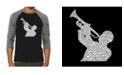 LA Pop Art All Time Jazz Songs Men's Raglan Word Art T-shirt