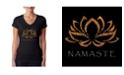 LA Pop Art Women's V-Neck T-Shirt with Namaste Word Art