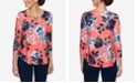 Ruby Rd. Plus Sizes Women's Neon Floral Print Top