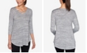 Ruby Rd. Women's Marled Metallic V-Neck Knit Top