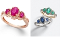 Macy's Ruby (1 ct. t.w.) & Diamond (1/4 ct. t.w.) 3-Stone Ring in 14k Gold (Also in Sapphire, Emerald & Tanzanite)