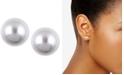 Anne Klein Silver-Tone Imitation Pearl Stud Earrings