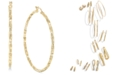 Macy's Skinny Square Textured Polished Hoop Earrings in 14k Gold