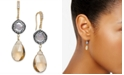 Paul & Pitu Naturally Two-Tone Multi-Stone & Imitation Pearl Drop Earrings