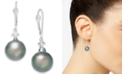 Macy's Cultured Baroque Tahitian Black Pearl (11mm) and Diamond (1/6 ct. t.w.) Drop Earrings in 14k White Gold