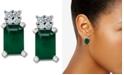 Macy's Emerald (1-1/5 ct. t.w.) & Diamond Accent Stud Earrings in 14k White Gold
