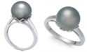 Macy's Cultured Tahitian Black Pearl (10mm) Ring in 14k White Gold