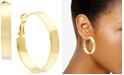 Essentials Medium Polished Flat Hoop Earrings 1-1/2""