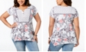 Style & Co Plus Size Mixed-Print Flutter-Sleeve Handkerchief-Hem Peasant Top, Created for Macy's
