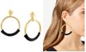 Steve Madden Gold-Tone & Leather Drop Large Hoop Earrings