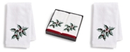 Martha Stewart Collection  Holly Embroidered Cotton 2-Pc. Fingertip Towel Set, Created for Macy's