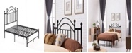 Hodedah Complete Platform Queen-Size Bed with Headboard, Slats and Rails