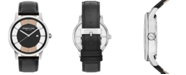 Kenneth Cole New York Men's Diamond-Accent Black Leather Strap Watch 44mm