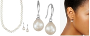 Macy's Cultured Freshwater Pearl Necklace (7-7 1/2mm) and Drop Earrings (7x9mm) Set in Sterling Silver